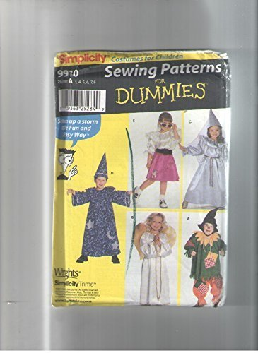 Simplicity 9910 Sewing Pattern for Dummies, Childs 3-8 Costumes, Poodle Skirt, Wizard, Angel, Scarecrow, Princess -