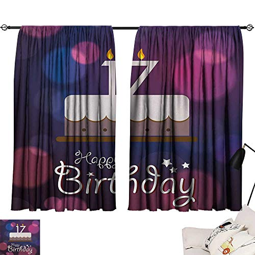 Jinguizi 17th Birthday Two Panels Seventeen Party Cake with Abstract Style Circles Artistic Print Printed Darkening Curtains Lilac Purple and Pink W55 x L39 by Jinguizi (Image #6)