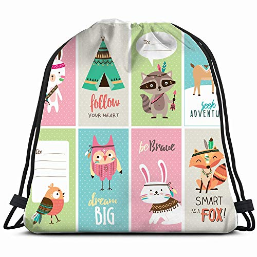 Set Cute Woodland Animals Cards Wildlife Animal Miscellaneous Drawstring Backpack Bag Sackpack Gym Sack Sport Beach Daypack For Girls Men & Women Teen Dance Bag Cycling Hiking Team Training ()