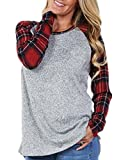 Coutgo Women's Plaid Knit Baseball Tees Loose Tunic (S, Red)