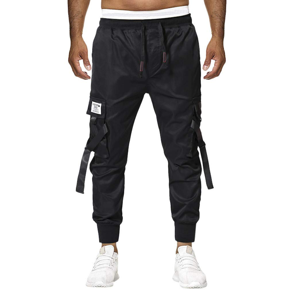 Men Joggers Hip Hop Premium Slim Fit Basic Casual Running Trousers Drawstring Sweatpants with Splice Pocket (XXXL, Black)
