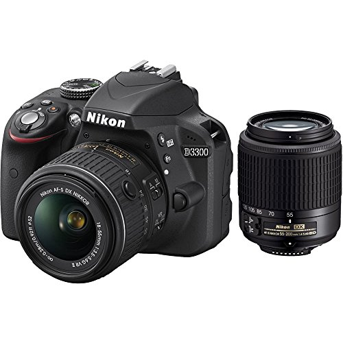 Nikon D3300 24.2 MP CMOS Digital SLR with AF-S DX NIKKOR 18-55mm f/3.5-5.6G VR II Zoom Lens and AF-S DX 55-200mm f/4-5.6G ED VR II Lens, - Zoom Viewfinder Color Digital