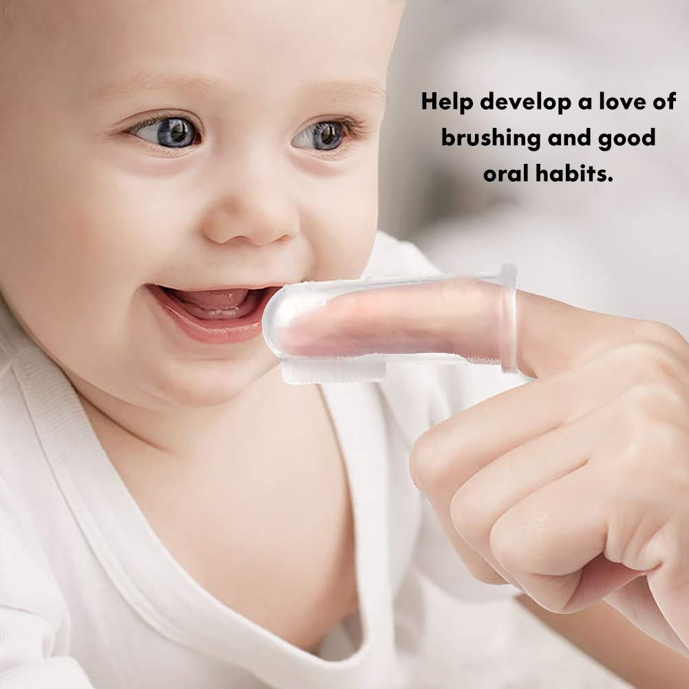 Toothbrush Teether and Oral Massager NWQEWDG 3 Pcs Baby Training Toothbrush Finger Toothbrush with Storage Case for Infant/&Toddlers/&Kids