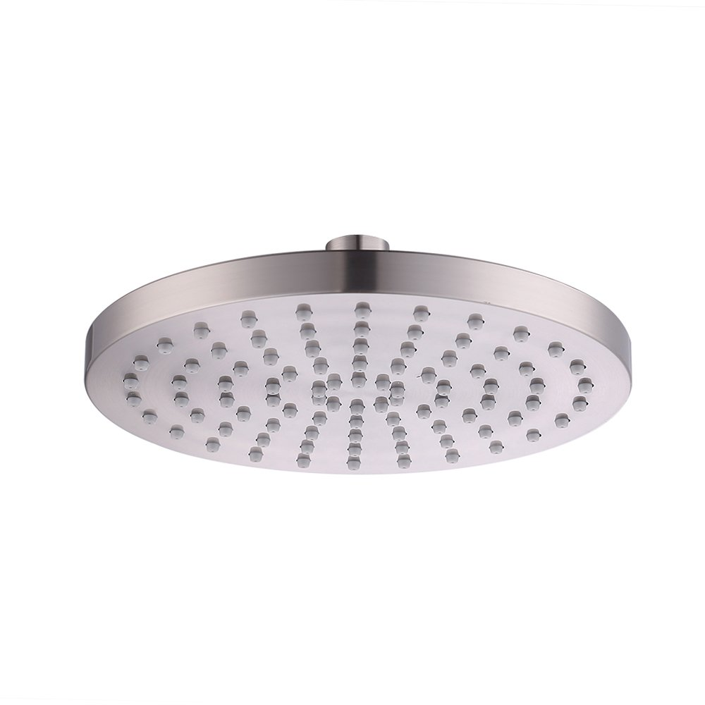 KES J201 Extra Large 8-Inch Drenching Rain Fall Shower Head Fixed Mount with Swivel 1/2 Metal Ball Connector, Polished Chrome KES Home (U.S.) Limited