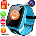 "TURNMEON Kids Smart Watches with Free SIM Card- 1.44"" GPS Tracker Wrist Smart Watch Phone for Boys Girls with Camera Pedometer Wearable Smartwatch Bracelet Children Travel School Birthday"