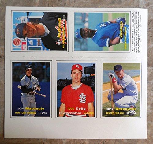 1990 Scd Pocket Price Guide Baseball Card Sheet Mattingly Bo