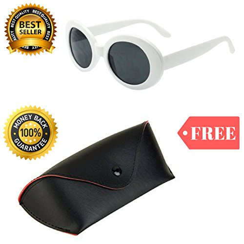 Clout Goggles Glasses White Oval Shaped FREE Case Cobain Sunglasses Sun - Cheap Sunglass Cases