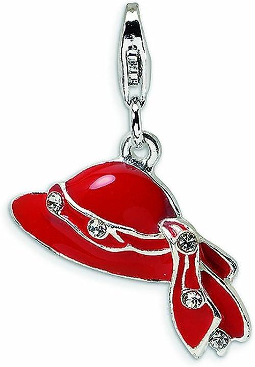 Sterling Silver Enamel Red Heart Be Mine Lollipop w//Lobster Clasp Charm