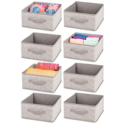 mDesign Soft Fabric Modular Closet Organizer Box with Handle for Cube Storage Units in Closet, Bedroom to Hold Clothing, T Shirts, Leggings, Accessories - Textured Print, 8 Pack - Linen/Tan