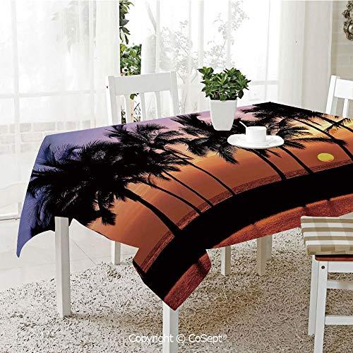 SCOXIXI Rectangle Tablecloth,Hawaiian Sunset on Big Island Anaehoomalu Bay Tropic Horizon Ocean Romantic Resort Decorative,Great for Table,Parties,Holiday Dinner(60.23
