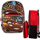 """Disney Pixar Cars Kids 16"""" Backpack and Insulated Lunch Box Set Lightning McQueen School Bag"""