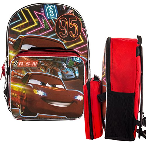 "Disney Pixar Cars Kids 16"" Backpack and Insulated Lunch Box Set Lightning McQueen School Bag"