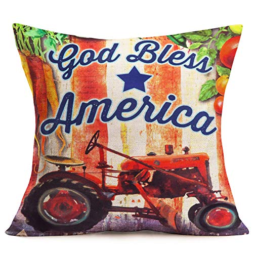 Asamour July 4th Patriotic Throw Pillow Covers Orange Tractors Car with God Bless America Inspirational Quote Cushion Covers Cotton Linen Square Throw Pillow Case Farmhouse Decorative 18x18 - Bless Bench America God