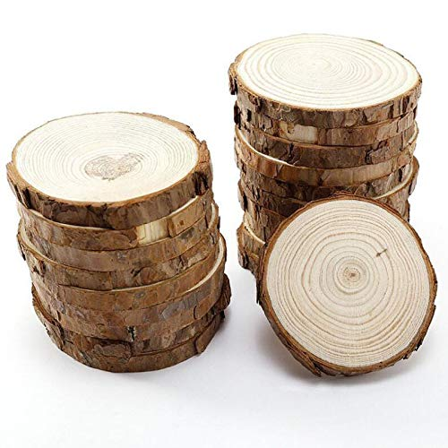 Best Quality - Wood DIY Crafts - 5pcs Unfinished Natural Round Wood Slices Circles with Tree Bark Log Discs for DIY Crafts Wedding Party Painting Decoration - by BLUESKYUP - 1 PCs