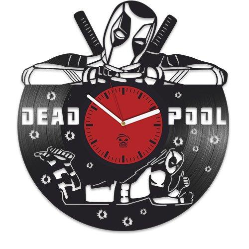 Deadpool Vinyl Clock, Wade Ryan Reynolds, Film Vinyl Record Clock, Best Gift For Him, Kovides Vinyl Wall Clock, Home Decor, Comics Marvel DC Movie, Silent Mechanism, Wall Art - Man Iron Through The Years