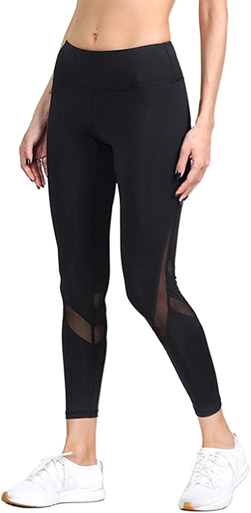 DSHT Women Tummy Control Sports Mesh Trouser Gym Workout Fitness Capris Yoga Pant Legging