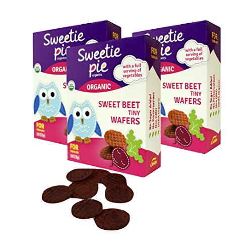 Sweetie Pie Organics 3 Piece Tiny Wafers Sweet Beet Organic Baby Healthy Snack Teething Biscuit Rusks, 3 Ounce
