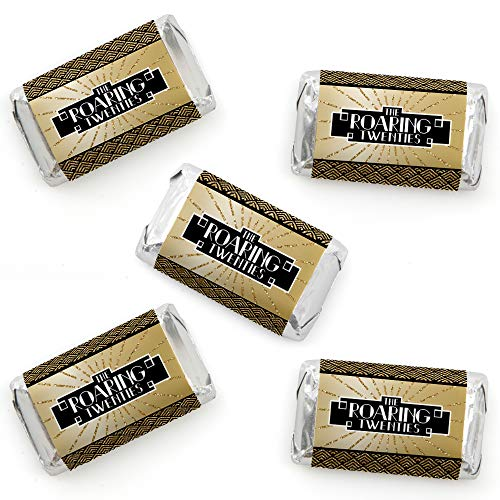 Roaring 20's - Mini Candy Bar Wrapper Stickers - 1920s Art Deco Jazz Party Small Favors - 40 Count ()