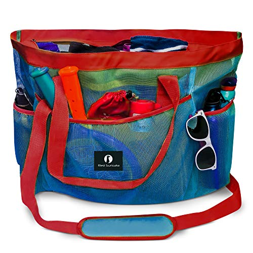 Red Suricata Large Mesh Beach Bag - Mesh Beach Tote Bag with Pockets - Beach Bags and Totes for Women with Zipper & 7 Large Elastic Pockets for Beach Accessories - Water Aerobics Bag (Blue/Red)