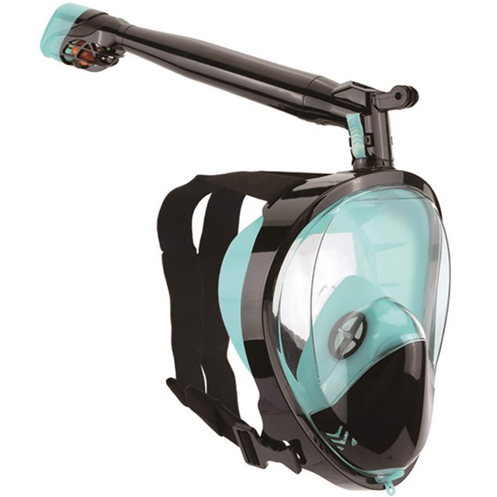 D S M Full Face Snorkel Mask, 360° redatable Seaview 180° Panoramic Design, Detachable Camera Mount, AntiFog AntiLeak Adult and Kids