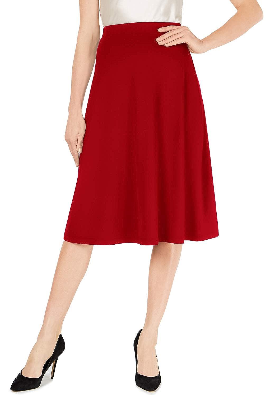 MONYRAY Womens High Waisted Midi Skirt Elastic A-line Flared Midi Skirt