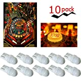 PA 10PCS T10 w5w 2 SMD 2835 LED Wedge Pinball Machine Light Top View Bulb 6.3VDC (White)