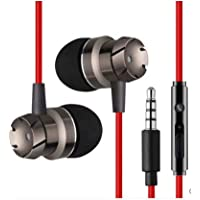 Sprint4deals Earphones HiFi Stereo Bass in-Ear Noise Canceling Headphones Wired Earpiece for Cell Phones with Microphone (Red)