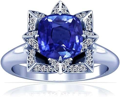 Platinum Cushion Cut Blue Sapphire Ring With Sidestones