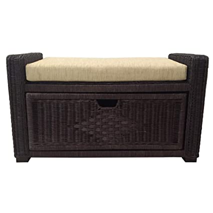 Amazoncom Natural Handmade Rattan Wicker Chest Storage Ottoman