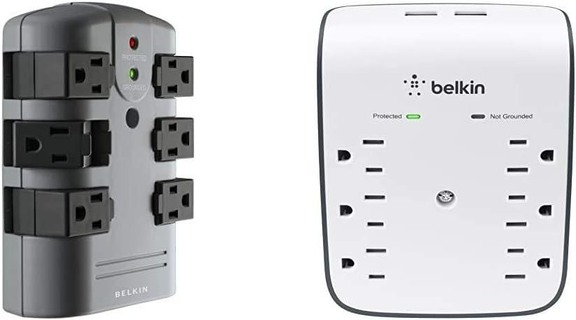 Belkin 6-Outlet Pivot-Plug Surge Protector w/ Wall Mount (1,080 Joules) & 6-Outlet USB Surge Protector w/ Wall Mount (900 Joules)