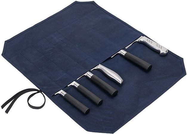 Compra Bolsa de lona encerada para cuchillos de chef enrollados, resistente bolsa de almacenamiento para cuchillos y cubiertos, bolsa de herramientas con 6 ranuras para envolver en Amazon.es