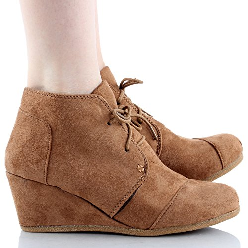 US Ankle 7 Lace Womens Link Wedge Booties Forever Tan 5 Up Patricia Suede 01 B Top Faux Moda M xOwvqgtT