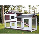 Kinbor Outdoor 60' Wooden Bunny Hutch Hen Duck Coop Large House Removable Tray & Ramp & Run Area