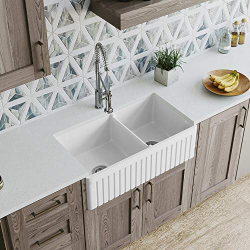 MR Direct 413 Fireclay Double Bowl Farmhouse Kitchen - Fireclay Double Sink