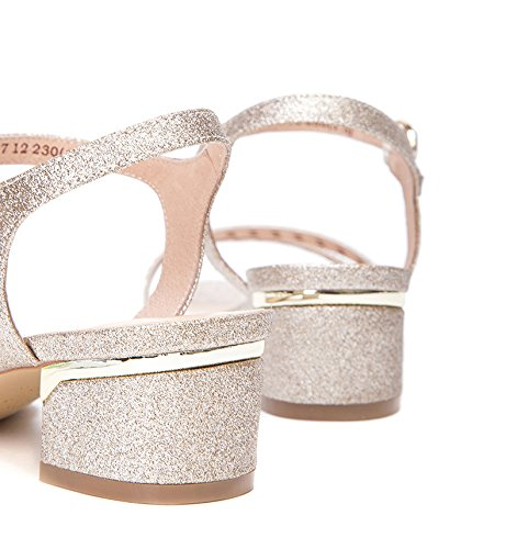 de de DHG de Moda Sandalias Ocasionales Punta Verano Dulces Planas Color de de S Mujer Zapatillas Sandalias Sandalias 1Zp1wX