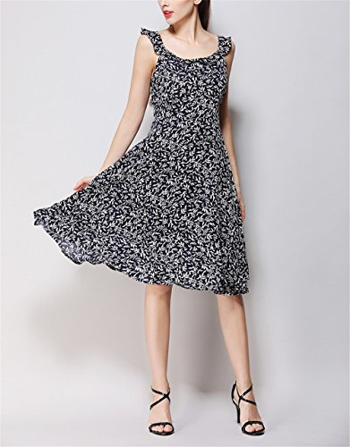 Print Blue 123 SYGoodBUY Dress Waist Chiffon Backless Knee Chiffon Evening Length Floral High p17w7fx