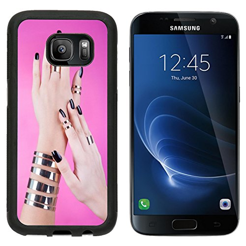 msd-premium-samsung-galaxy-s7-aluminum-backplate-bumper-snap-case-woman-with-black-manicure-wearing-