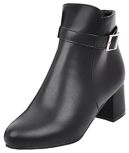 Women's Stylish Solid Waterproof Faux Fur Lined Pointed Toe Buckle Zipper Mid Block Heel Ankle Short Winter Boots