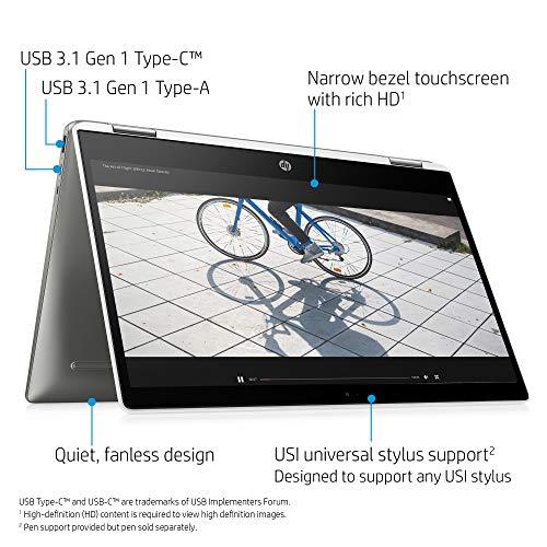 HP Chromebook X360 14-Inch HD Touchscreen Laptop, Intel Celeron N4000, 4 GB RAM, 32 GB eMMC, Chrome (14b-ca0010nr, Ceramic White/Mineral Silver)