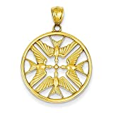 14K Yellow Gold Polished Doves in Circle Pendant - (0.98 in x 0.94 in)