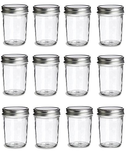 PremiumVials, 12 pcs, 8 oz, Mason Jars with Lids for Jam, Honey, Wedding Favors, Shower Favors, Baby Foods, Canning, spices, Half Pint