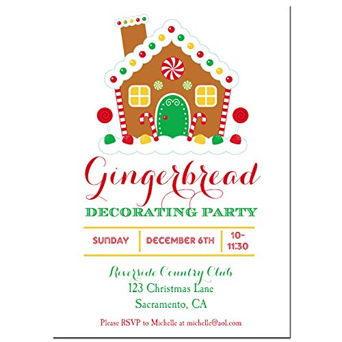 Invitations House Party Gingerbread (Christmas Party Invitation - Christmas Invitation Gingerbread House Decorating or Holiday Birthday - Sweet Gingerbread Collection)