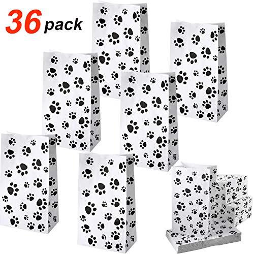 36 Pack Paper Puppy Dog Paw Print Treat Bags, Paw Print Gift Bags Paper Paw Print Goodie Bags Dog Gift Bags Cat Treat Bags for Pet Treat Party Favor (Black Paw Print Party Supplies)