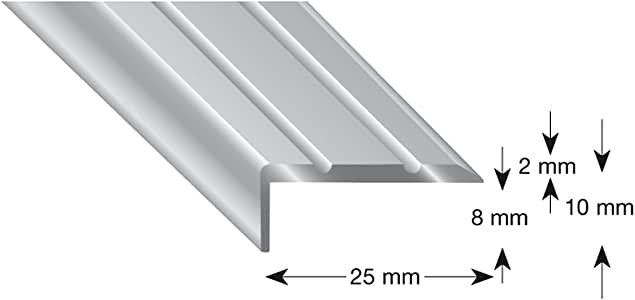 kügele Escaleras ángulo de aluminio anodizado en plata, autoadhesivo, 25/10/1000 mm, 1 pieza, 105B S 100 S: Amazon.es: Bricolaje y herramientas
