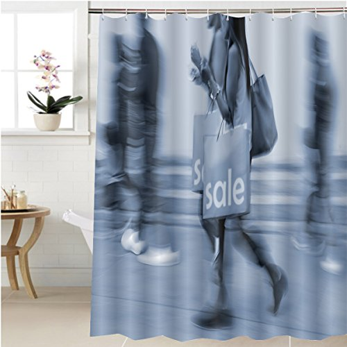 Gzhihine Shower curtain shopping in the city in motion blur and blue tonality Bathroom Accessories 72 x 88 - Shopping City Dallas Place