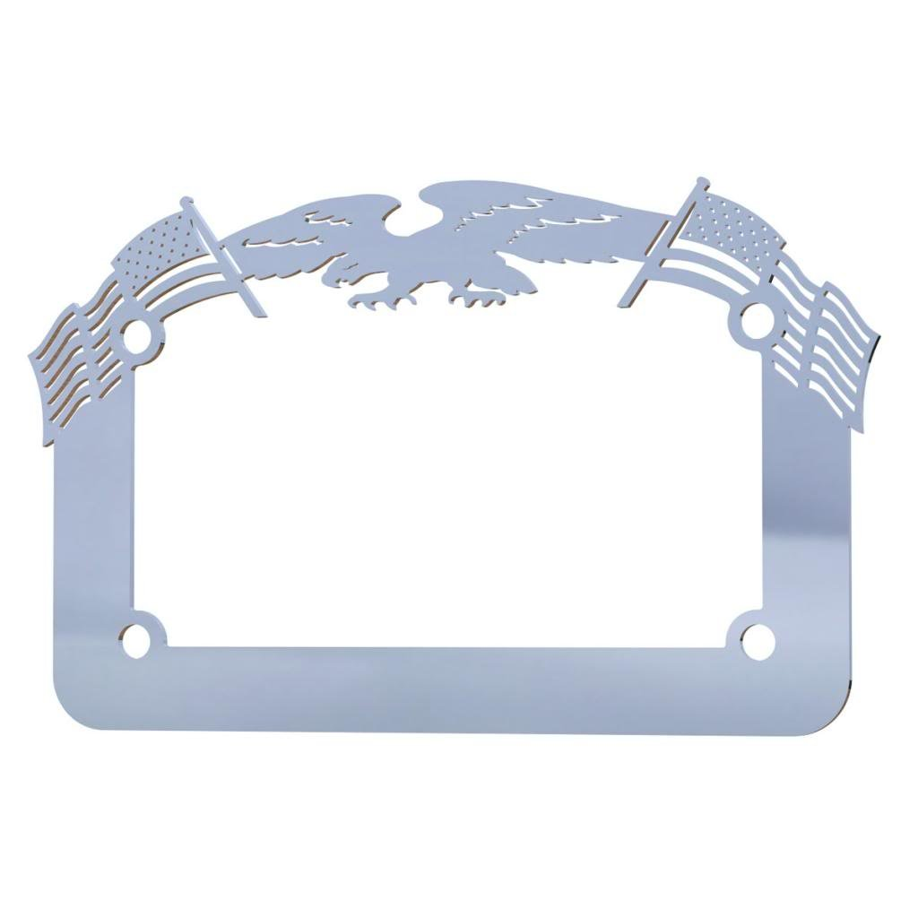 Ferreus Industries Polished Stainless Chrome Motorcycle License Plate Frame Eagle American Flag Eagle 1 Piece LIC-119