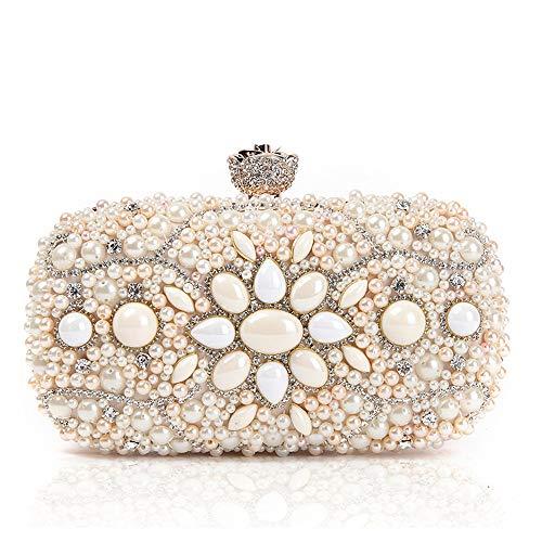 ZTDXCL Women's Clutch Bag Gem Diamond Beaded Dinner Bag Party Dress Ball Handbag Evening Bag, Pink