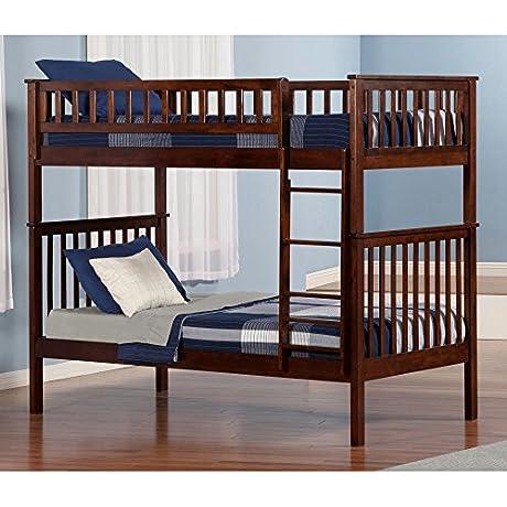 Atlantic Furniture Woodland Bunk Bed Twin Over Twin In Walnut
