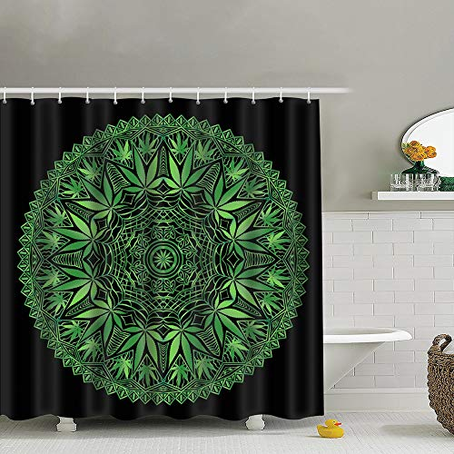 best bags Intricate Funky Cannabis Theme Mandala Hand Healthcare Medical Shower Curtain Set, Relaxing Summer Landscape Bathroom Decor,Shower Curtain Set Waterproof 60X72 ()