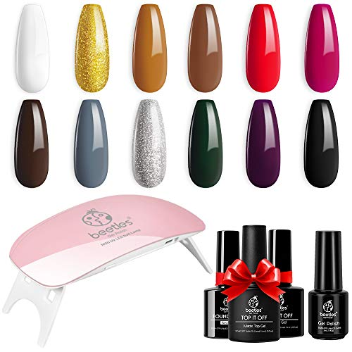 Beetles Holidays Gift Set Gel Nail Polish Kit- 12 Colors White Red Black Gel Polish Set Soak Off UV LED Nail Gel Kit Gold Glitter Purple Nail Polish Gel Travel DIY Nail Art Gift Box Valentine's Day